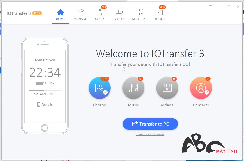 IOTransfer 3 – copy dữ liệu từ iPhone vào máy tính